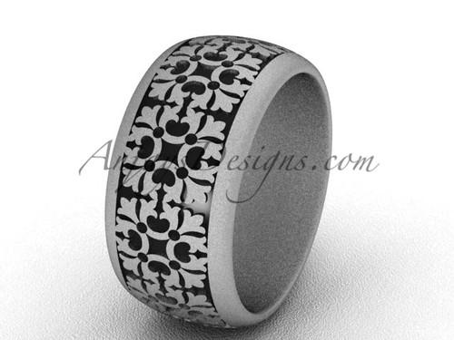 Modern Wedding Band, Matte Platinum Unique Ring  SGT652
