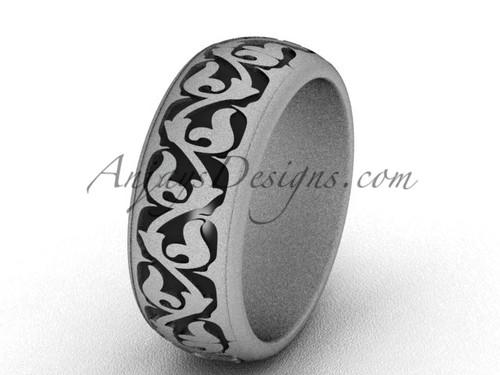 White Matte Gold Wedding Band, Unique Engagement Ring SGT650