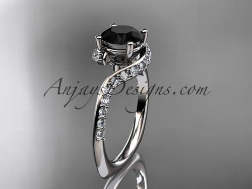 Unique platinum engagement ring, wedding ring with a Black Diamond center stone ADLR277