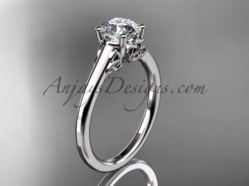 Celtic Bridal Ring, White Gold Irish Wedding Ring CT7426