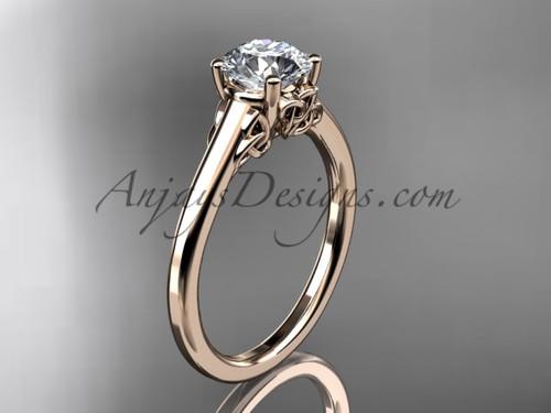Rose Gold Celtic Trinity Knot Wedding Ring, Moissanite center stone Ring CT7426