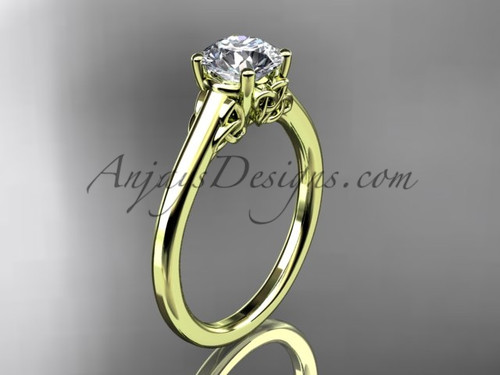 """Yellow Gold Celtic Wedding Ring with a """"Forever One"""" Moissanite center stone CT7426"""