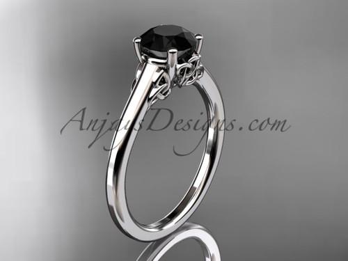 Celtic Trinity Knot Bridal Ring, 14kt White Gold Wedding Ring,  Black Diamond Engagement Ring CT7426