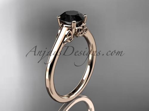 Trinity Knot Bridal Ring, 14kt Rose Gold Celtic Wedding Ring,  Black Diamond Engagement Ring CT7426