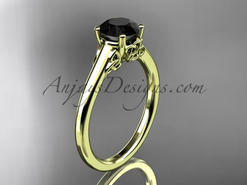 Triquetra Ring, 14kt Yellow Gold Celtic Wedding Ring,  Black Diamond Engagement Ring CT7426