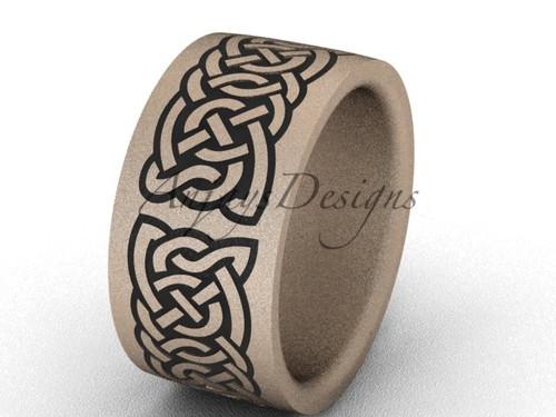 Modern Wedding Bands, Unique Bridal Ring- 14k Rose Matte Gold 10mm wide engagement ring SGT607
