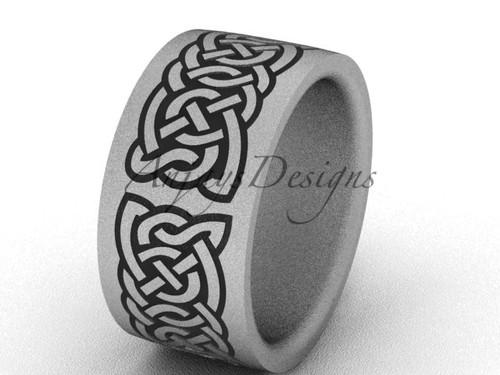 Simple Bridal Ring, Unique Engagement Ring- Matte Platinum 10mm wide Wedding Ring SGT607