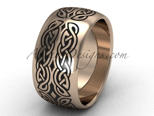 Modern Wedding Band , 14k Rose Gold Unusual Engagement Rings, 10 mm wide Band SGT608G