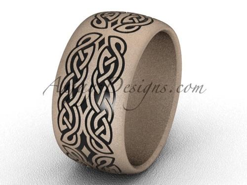 Simple Engagement Rings, 14k Rose Matte Gold 10 mm wide Wedding Band SGT608G
