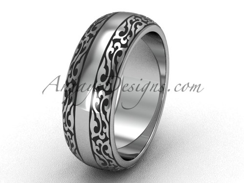 Modern Engagement Rings, 14k White Gold Wedding Band, 7.0 mm wide Band SGT642G