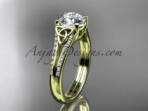 """14kt yellow gold celtic trinity knot engagement ring ,diamond wedding ring with a """"Forever One"""" Moissanite center stone CT7108"""