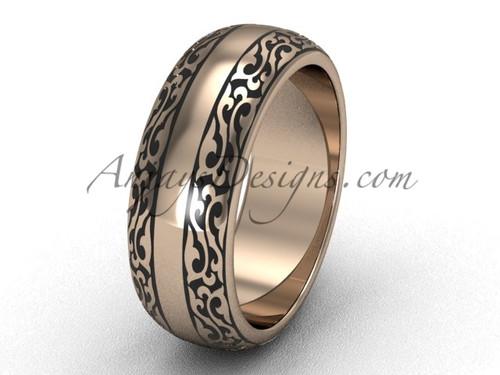 Modern Wedding Bands, 14k Rose Gold Engagement Ring, 7.0 mm wide Band SGT642G