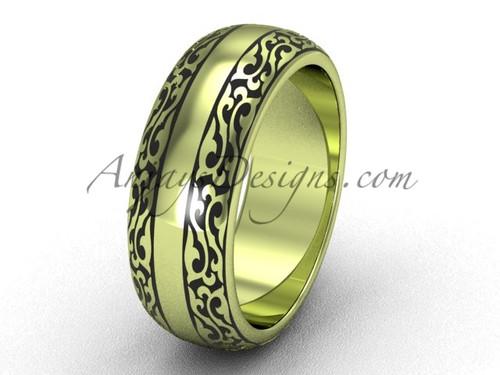 Unusual Bridal Rings, 7.0 mm 14k Yellow Gold Wedding Band,  Anniversary Band SGT642G