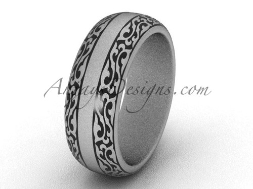 Modern Rings, 14k White Matte Gold Wedding Band, 7.0 mm wide Engagement Ring Band SGT642G
