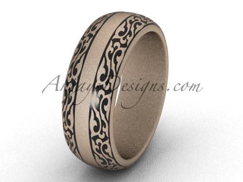 Proposal Rings, 7.0 mm 14k Rose Gold Wedding Band,  Modern Engagement Ring Band SGT642G