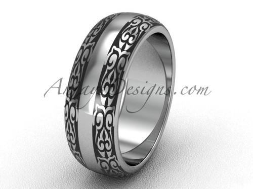 Modern Bridal Rings, 7.0 mm wide 14k White Gold Wedding Band, Unusual Band SGT643G