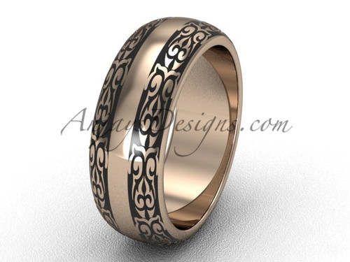 7.0 mm wide Modern Wedding Bands, 14k Rose Gold Engagement Rings, Unique Band SGT643G