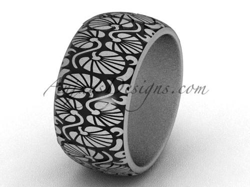 Unique Wedding Bands, Simple Bridal Rings - 14k White Matte Gold plain 10mm wide Engagement Ring SGT644G