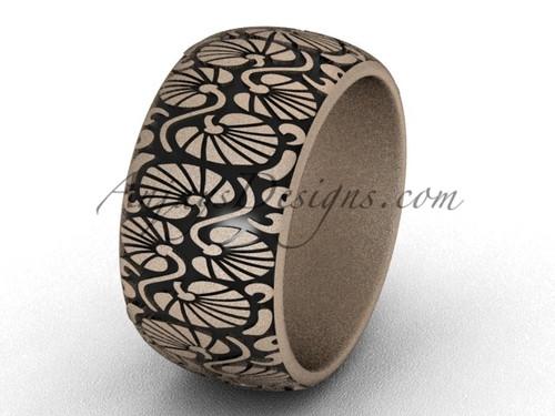 Unique Engagement Ring, Unique Bridal Ring- 14k Rose Matte Gold 10mm wide engagement ring SGT644G