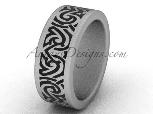 Unique Simple Wedding Bands - 14k White Matte Gold 8.0 mm wide  Bridal Ring SGT646G