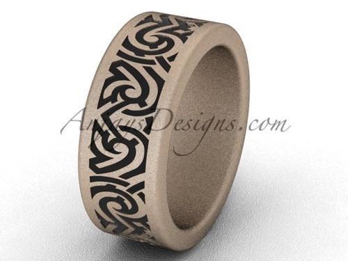 Simple Wedding Bands - Unique 14k Rose Matte Gold 8.0 mm wide  Bridal Ring Band SGT646G
