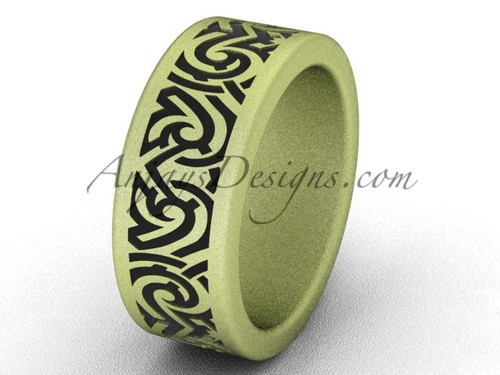 Cool Wedding Bands - Unique 14k Yellow Matte Gold 8.0 mm wide  Bridal Ring Band SGT646G