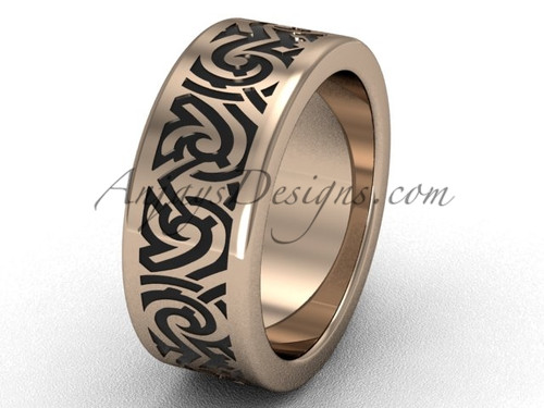 Unique Wedding Ring Bands - Unique 14k Rose Gold 8.0 mm wide Engagement Ring Band SGT646G