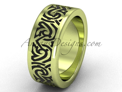 Modern Unusual Wedding Bands - Unique 14k Yellow Gold 8.0 mm wide  Cool Bridal Ring Band SGT646G