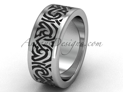 Unusual Wedding Ring Bands - Platinum 8.0 mm wide  Proposal Ring SGT646G