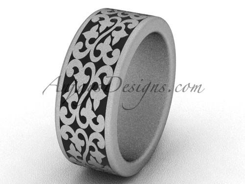 Simple Wedding Bands - 14k White Matte Gold 8.0 mm wide Bridal Ring SGT647G