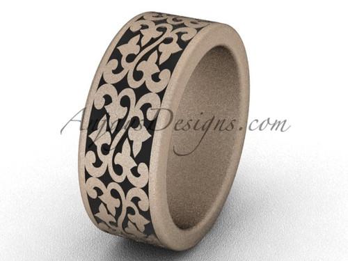 Unique Wedding Bands - Unique 14k Rose Matte Gold 8.0 mm wide Bridal Ring Band SGT647G