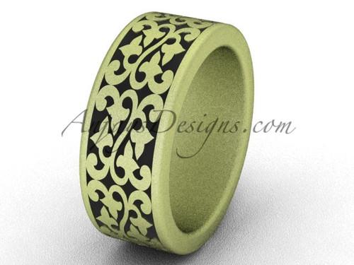 Yellow matte Gold Anniversary Band, 8 mm Cool Man Bridal Ring Band SGT647G
