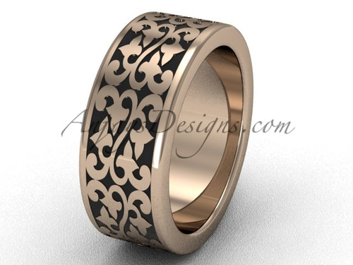 Pink Gold Rings -Gold Braided Wedding Ring for men SGT647G