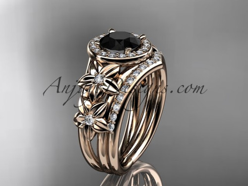 Black Diamond Flower Engagement Rings, Rose Gold Halo Diamond Ring,ADLR131S