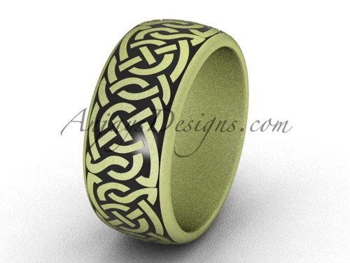 Unique Wedding Bands - 14k Yellow Matte Gold 8.35 mm wide Modern Marriage Ring Band SGT649G