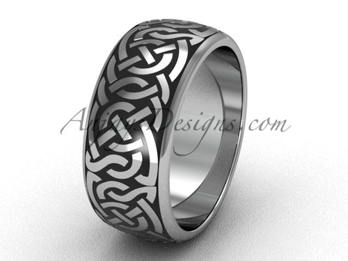 White Gold Wedding Band, Mens Unusual Triquetra Ring SGT649G
