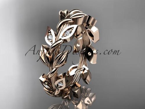 14kt rose gold diamond leaf wedding ring, wedding band ADLR120B