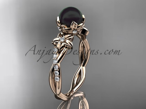 Flower Diamond Wedding Ring With Black Pearl- 14kt Rose Gold Bridal Ring ABP388