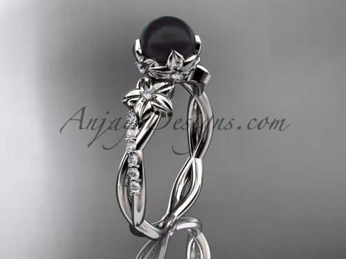 Black Pearl Engagement Ring, Flower Bridal Ring with Diamonds ABP388