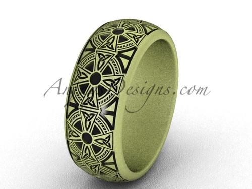 matte gold wedding band, Celtic modern ring SGT653G