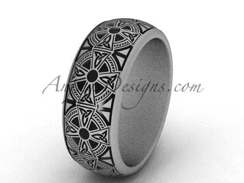 Platinum wedding band, Celtic matte modern ring SGT653G