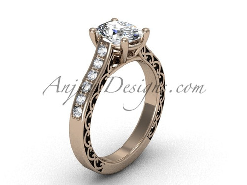Luxury Solitaire Engagement Ring, Rose Gold Modern Bridal Ring  for Her SGT632