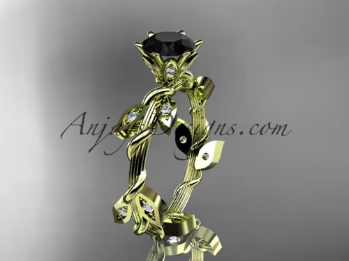 14kt yellow gold diamond leaf and vine wedding ring,engagement ring with a Black Diamond center stone ADLR20