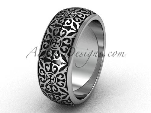Unique Mens Bands, White gold Bridal Wedding Rings SGT655G