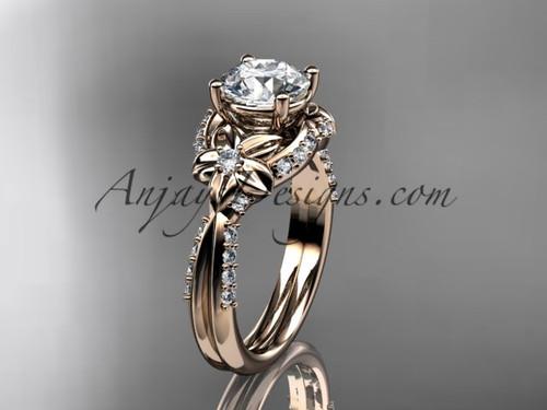 Unique 14kt rose gold diamond flower, leaf and vine wedding ring, engagement ring ADLR220