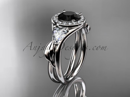 Platinum diamond unique engagement ring, wedding ring  with a Black Diamond center stone ADLR314