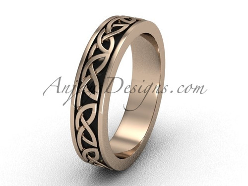 Unique Marriage  Rings - Gold Celtic Wedding Band CT7428G