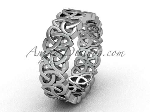 White gold Triquetra wedding band, celtic bridal ring CT7429G