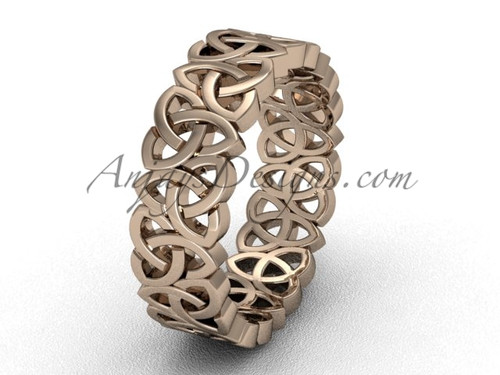 Modern Engagement Rings - Pink Gold Triquetra Band CT7429G