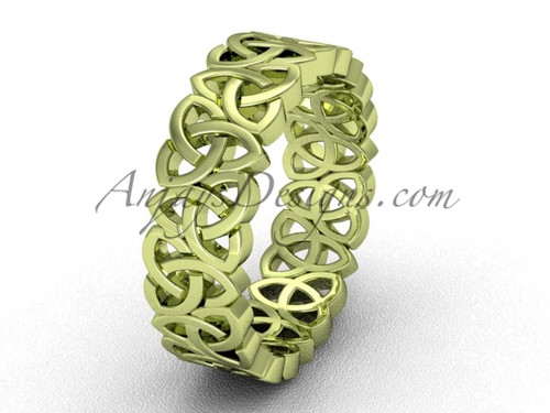 Yellow Gold Wedding Ring , Modern Celtic Rings - Scottish Engagement Rings CT7429G